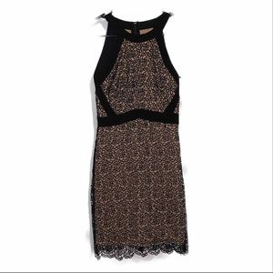 Jodi Kristoper Black and Nude Lace Dress